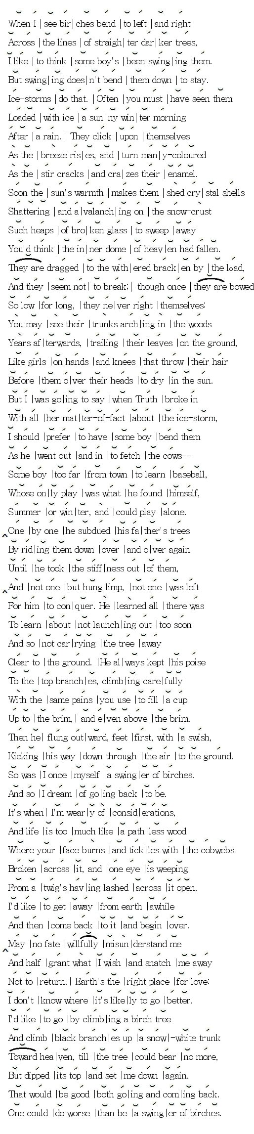 Robert Frost - Scansion of Birches