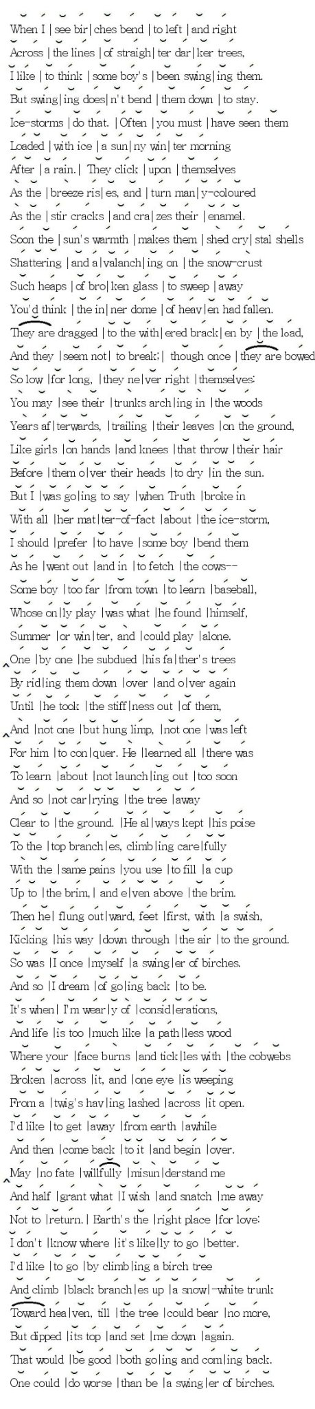 essays on the poem birches Analyzing robert frosts poem the birches english literature essay print robert frosts' poem birches is a reflective poem about an uk essays is a trading.