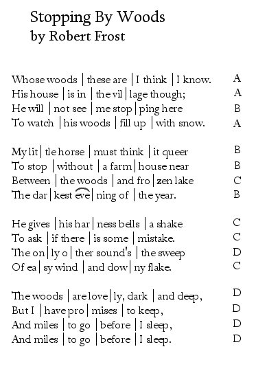 "interpreting robert frost s ""stopping by woods"" poemshape stopping by woods by robert frost scansion"