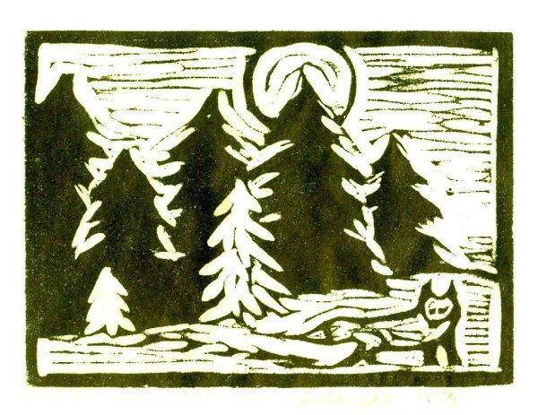 Woodcut Full Fox Print (Color Corrected)