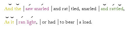 And the Saw Snarled - Metrical Example