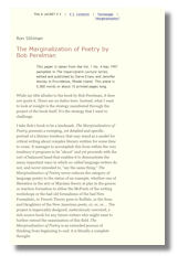 marginalization of poetry