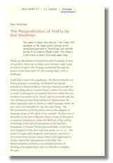 marginalization of poetry
