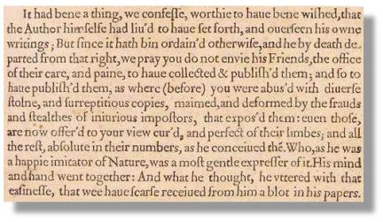 Had the Author Himself Lived (Heminge & Condell Preface First Folio)