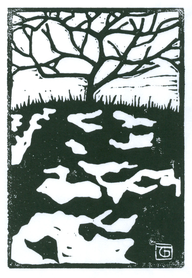 Bare Tree on Snow (Block Print)