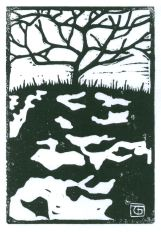 Bare Tree on Snow (Block Print)