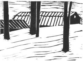 Barn Roof (Snow Drift) (Block Print)