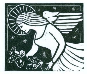 B&W Angel (Block Print)