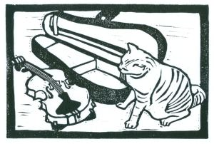 Cat & Violin (Block Print)