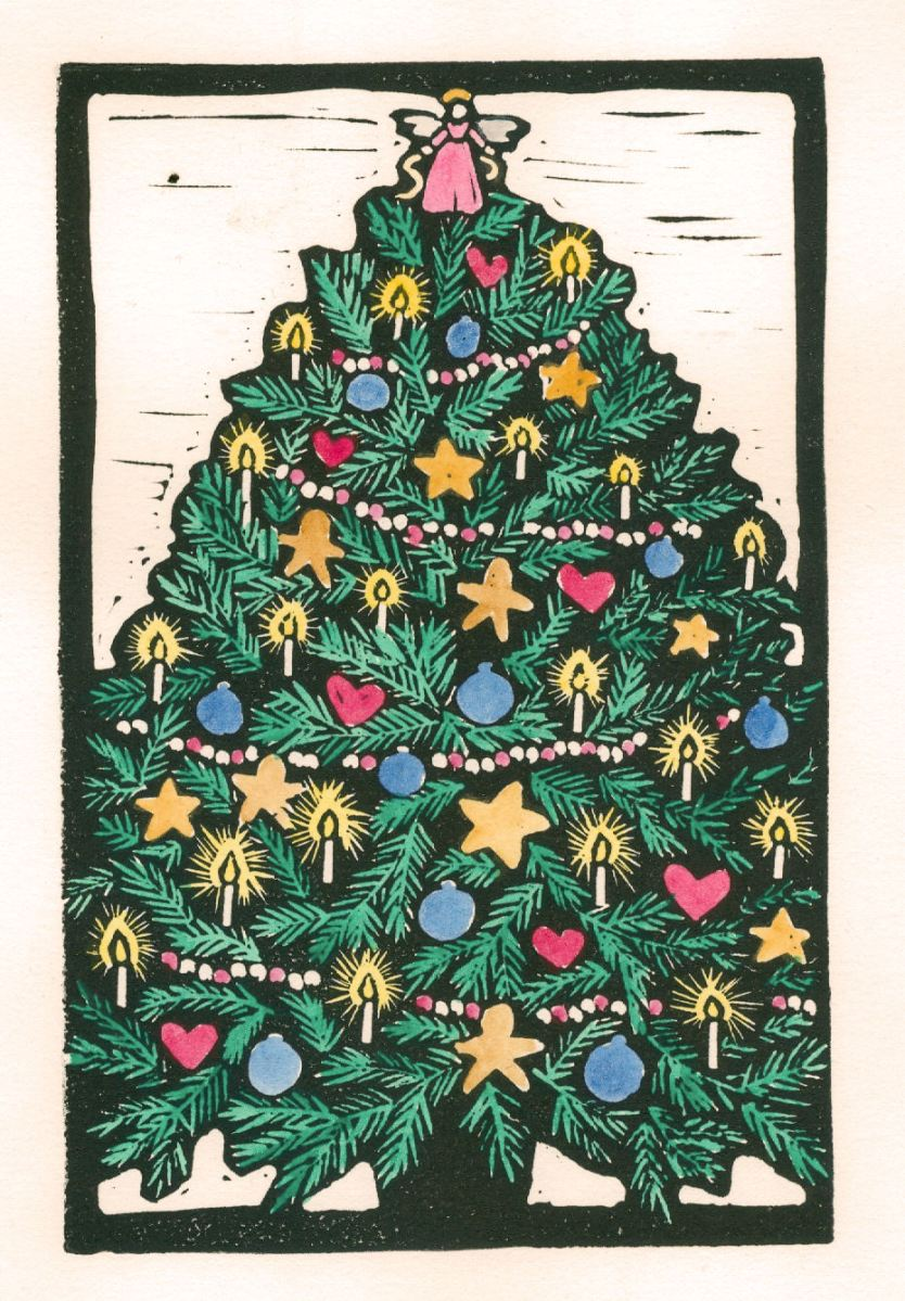 Christmas Tree Color (Block Print)