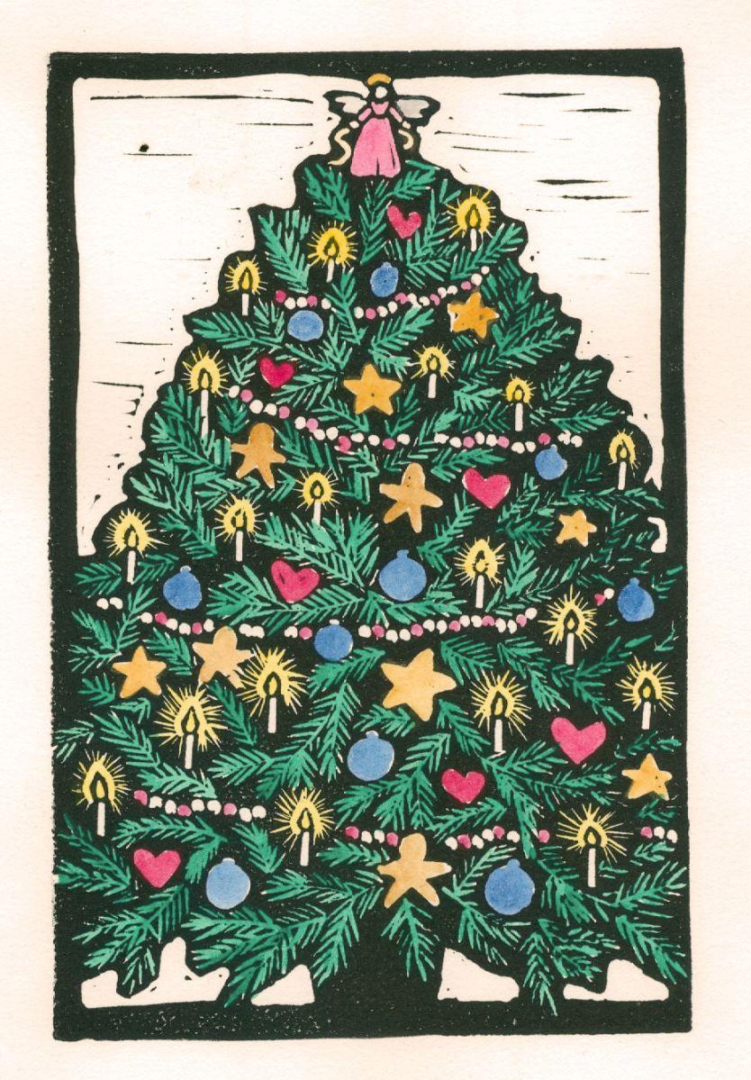 Christmas Tree Color (Block Print)
