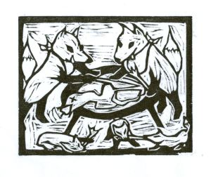 Fox F ~ Fox & Cooked Goose (Block Print)