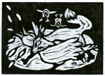Fox C ~ Fox Gets the Goose (Block Print)