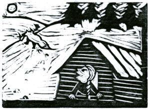 Fox D ~ Fox & the FarmGirl (Block Print)