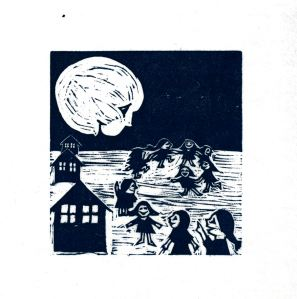 Moon & Children (Rich Ink) (Block Print)