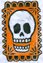 Skull the Orange (BlockPrint)