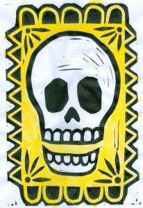 Skull the Yellow BlockPrint (Block Print)