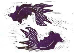 Swirling Fish (Block Print)