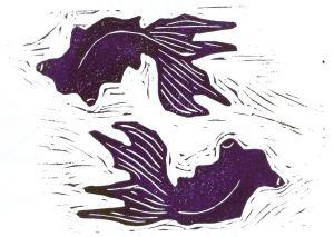 Swirling Fish (Block Print)