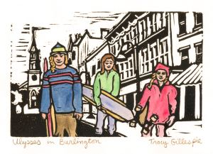 Ulysses in Burlington Vermont (Block Print)