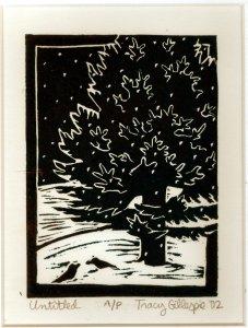 Woodcut Evergreen (Fade Corrected) (Block Print)