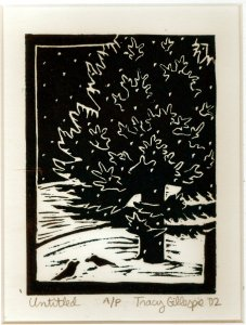 Woodcut Evergreen (Fade Corrected) (Block Print)