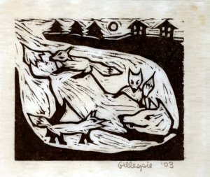 Fox E ~ Fox & Pups (Block Print)