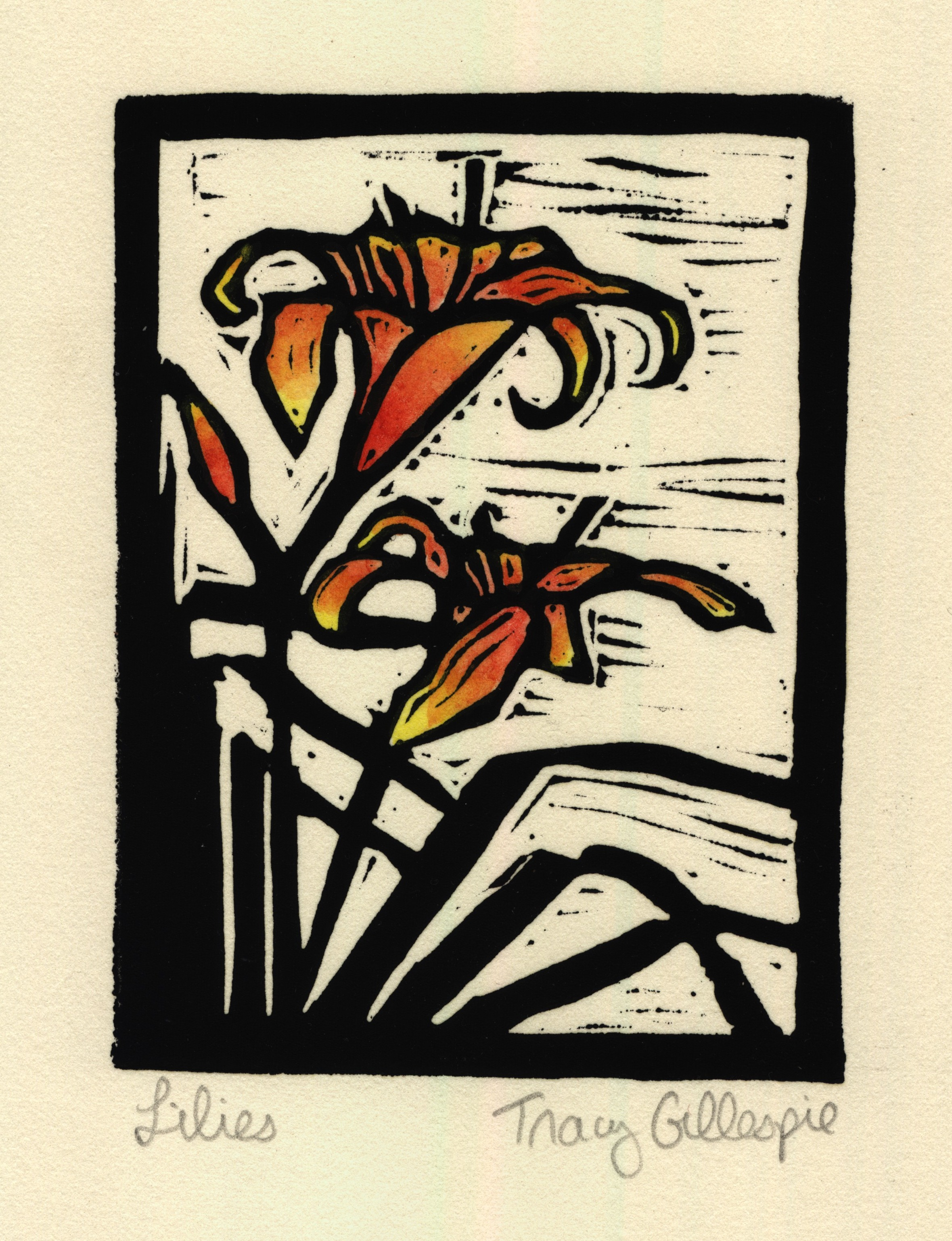 lillies (Block Print)