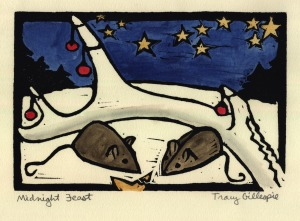 midnight feast (Block Print)