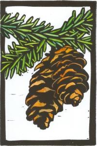 pinecones block print